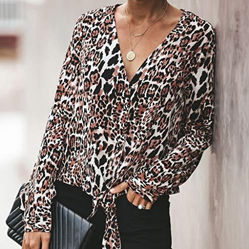 47d7dbd7f9ff Camicie Lunghe Manica Abiti Cerimonia Ragazza Donna Leopardo Lingyan A E  Scollo Lunga V Maglie Camicia Larghe Marrone Eleganti ...