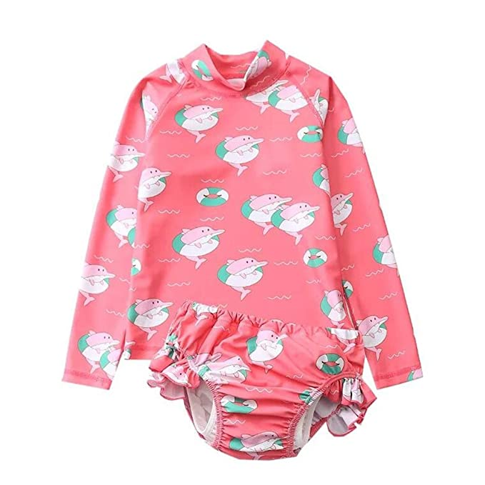Amazon.com: Traje de baño de manga larga para niñas de 1 a 4 ...