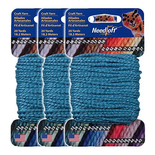 #54 Turquoise - Needloft Craft Yarn 3 Pack 60 Yards (3x20yds)