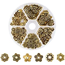 Pandahall 180pcs/box Tibetan Style Alloy Antique Golden Flower Bead Caps Beads Spacers with a White Container TIBE-JP0002-AG