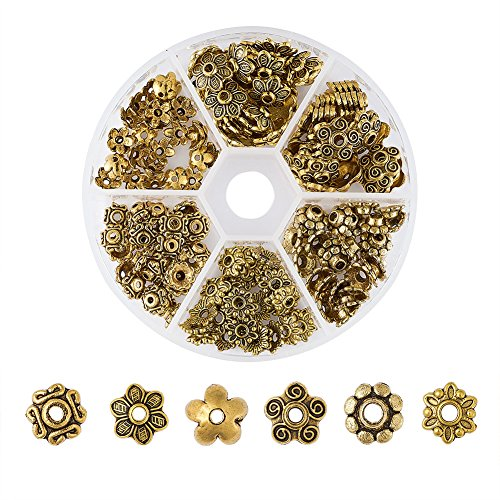 Gold Caps Bead - Pandahall 1Box/180pcs Tibetan Style Alloy Flower Petal Bead Caps Beads Spacers for Jewelry Makings 7~10mm in Diameter Antique Golden TIBE-JP0002-AG