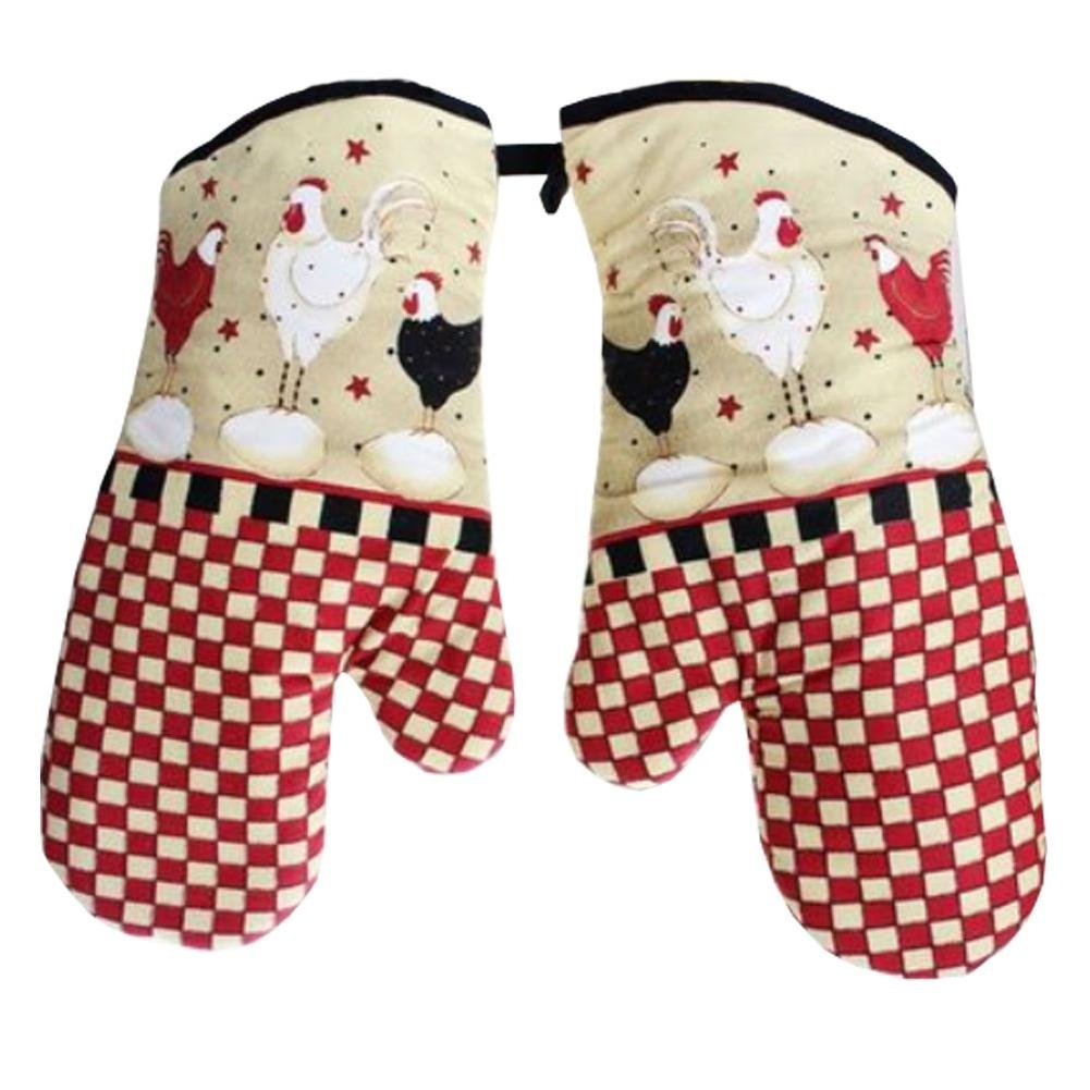 Set of 2 Oven Mitts Heat Resistant Kitchen Gloves Oven Gloves Potholders Cute Chicken Lanburch