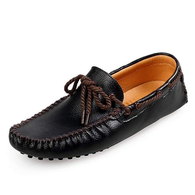 Zapatos mocasines de piel de zapato holgazán zapatos Lazy Shoes zapato de encaje con cordones zapato de guisantes zapatos de punta redonda zapato cómodo ...
