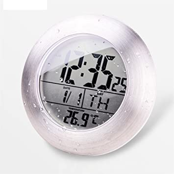 Horloge de douche LCD Salle de bain Horloge étanche avec 4 ventouses ...