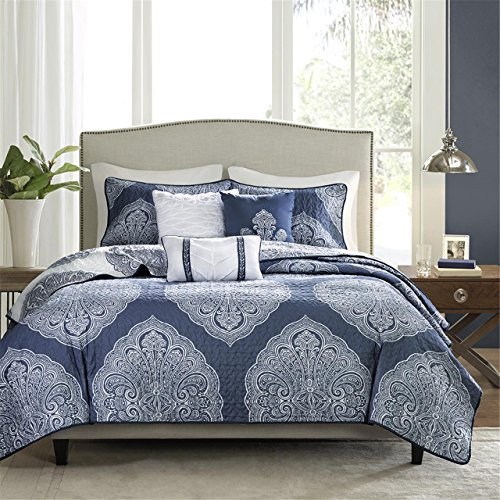 Madison Park Rachel Full/Queen Size Quilt Bedding Set – Navy, Medallion – 6 Piece Bedding Quilt Coverlets – Ultra Soft Microfiber Bed Quilts Quilted Coverlet