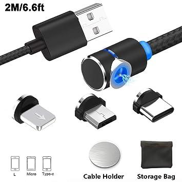 Cable de carga USB magnético, cargador de cable múltiple 3 en 1 con LED para teléfono / Android, adaptadores de carga múltiple Tipo de LC-Sin datos de ...