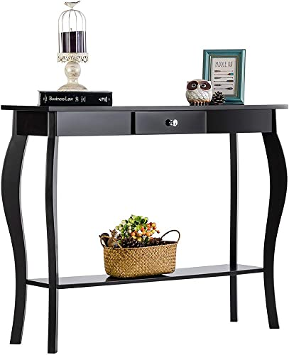 ChooChoo Entryway Console Table with Drawer, Behind Sofa Tables Narrow, Hallway Table for Entryway Easy Assembly