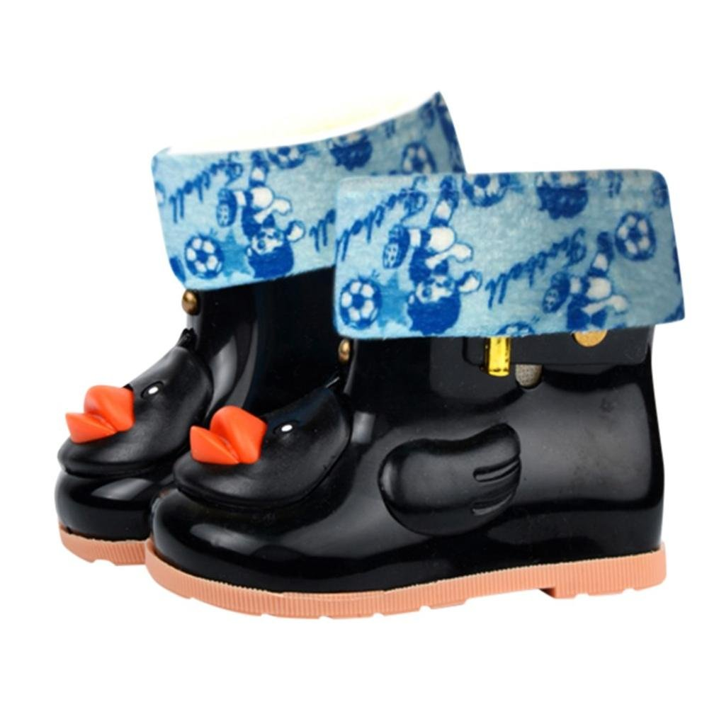 Sikye Kids' Waterproof Sneaker Cartoon Duck Rubber Rain Boot Warm Shoe Velvet for Toddler Boys Girls (Black, 12-24M)