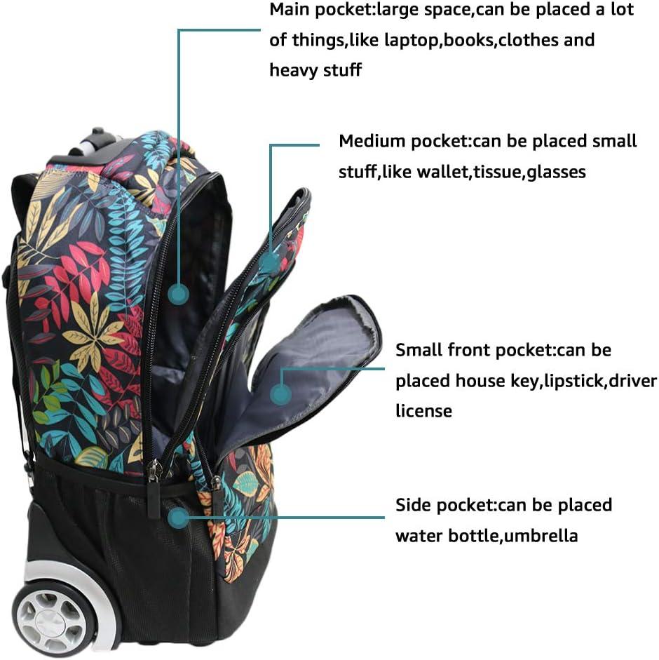 19 Pouces Femmes Trolley Bag Cadeaux Rentr/ée Scolaire Sac /à Dos avec roulettes /Étudiant Cartable Roulette Entreprise Bagages Voyage Roues Sac a Dos De Plein air