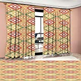 Littletonhome Native American Room Darkening Wide Curtains Colorful Geometric Ethnic Aztec Patterns South Mexican Traditional Folk Art Decor Curtains By Multicolor