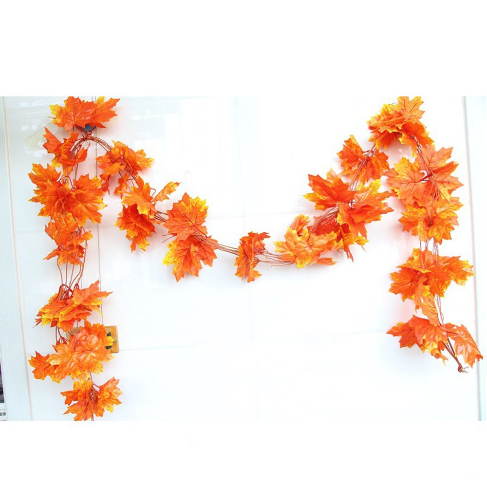 YEJI 12pcs 88 Inch Artificial Ivy Red Maple Leaf Leaves Garland Plants Vine Fake Foliage Flower Home Garden Decorations or decorating home, hotel, wedding, party, garden, fences, etc. by YEJI (Image #1)