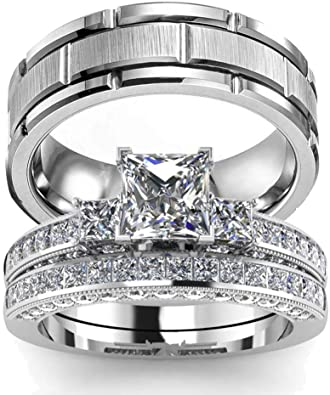 wedding ring set Two Rings His Hers Couples Matching Rings Women's 2pc  White Gold Filled Square CZ Wedding Engagement Ring Bridal Sets & Men's  Titanium Wedding Band: Amazon.co.uk: Jewellery