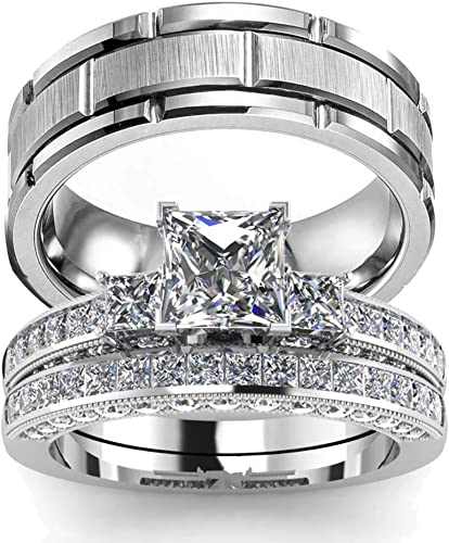 Wedding Ring Set Two Rings His Hers Couples Matching Rings Women S 2pc White Gold Filled Square Cz Wedding Engagement Ring Bridal Sets Men S Titanium Wedding Band Amazon Com