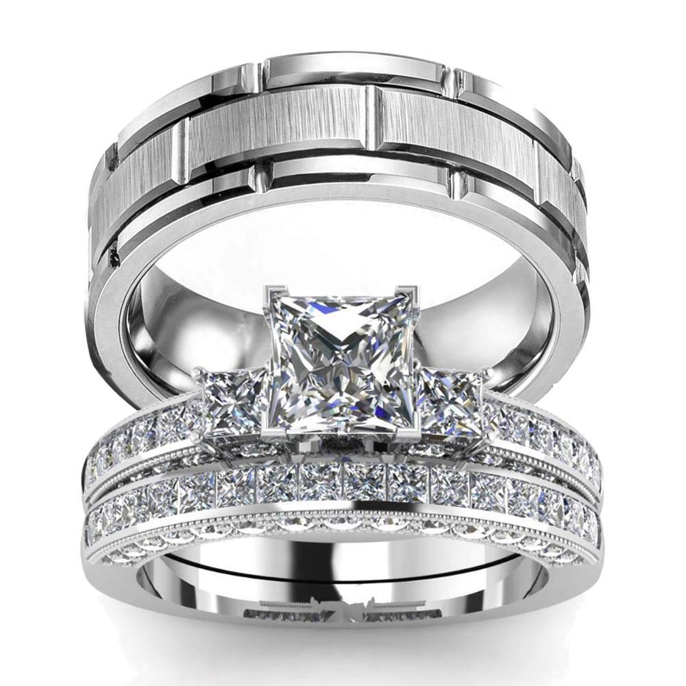 wedding ring set Two Rings His Hers Couples Matching Rings Women's 2pc White Gold Filled Square CZ Wedding Engagement Ring Bridal Sets & Men's Titanium Wedding Band by wedding ring set