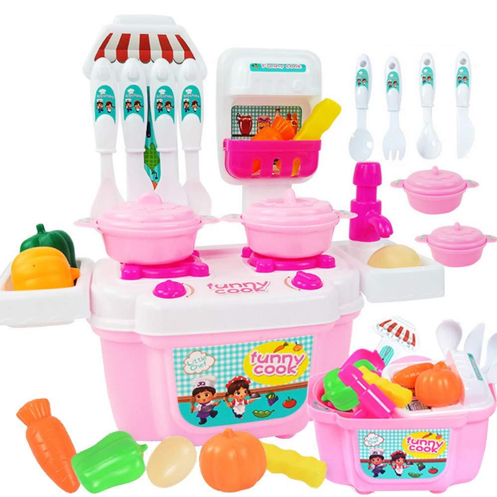 Alonea Pretend キッチンアクセサリー ミニキッチン用品 食器 調理器具 ごっこ遊び おもちゃ キッチンセット 女の子と子供用  Pink❤️ B07L9YK8ZW