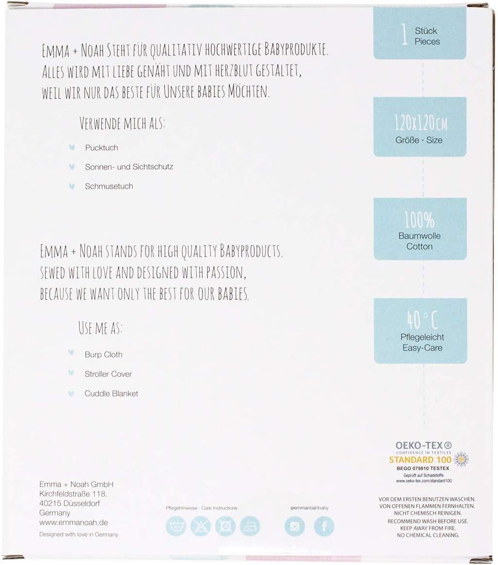 Plaid pour Nouveau-N/é 100/% coton Apaisante Couleur: Baleine Rose emma /& noah Couverture B/éb/é d/'Emmaillotage C/âline et Douce pour B/éb/és qui Pleurent Beaucoup Swaddle Blanket 120 x 120 cm