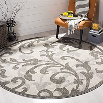 Safavieh Amherst Collection AMT428E Ivory and Light Grey Indoor/ Outdoor Round Area Rug (9 Diameter)