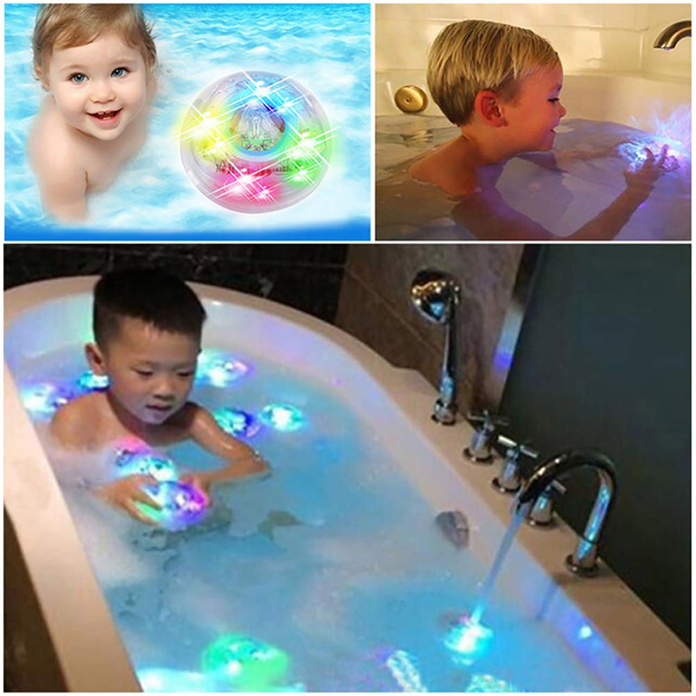 Xinxun 2 Pcs Kids Light Toy Bath Water LED Light Floating Bath Toys Colorful Light Up Baby Toddler Infant Shower Bathtime Bathtub Toy Set