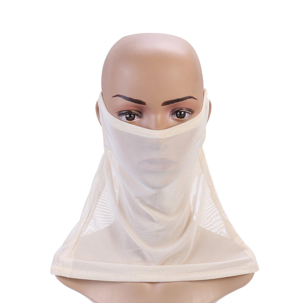 LUOEM 2pcs Sunproof Headwear Dustproof Facemask Wrap Scarf for Face Neck (Grey+Beige) 68FO084923GCGVU5094