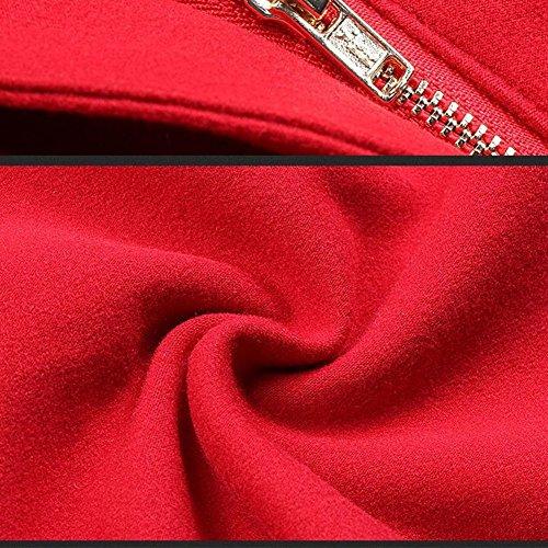 June's Young Damen Elegantes Kleid mit zwei Taschen Langarm Etuikleid Knielang Abendkleid mit Gürtel Rot PxdFA2G2