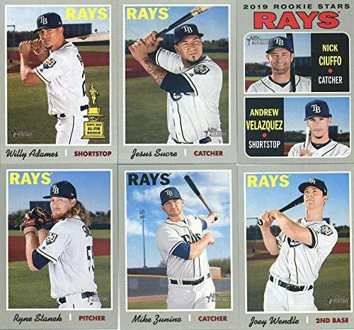 2019 Topps Heritage Baseball Tampa Bay Rays Team Set of 11 Cards: Brandon Lowe/Michael Perez(#9), Mike Zunino(#158), Joey Wendle(#161), Matt Duffy(#169), Daniel Robertson(#175), Ryan Yarbrough(#181), Tommy Pham(#194), Willy Adames(#211), Jesus Sucre(#219), Andrew Velazquez/Nick Ciuffo(#381), Ryne Stanek(#392) ()