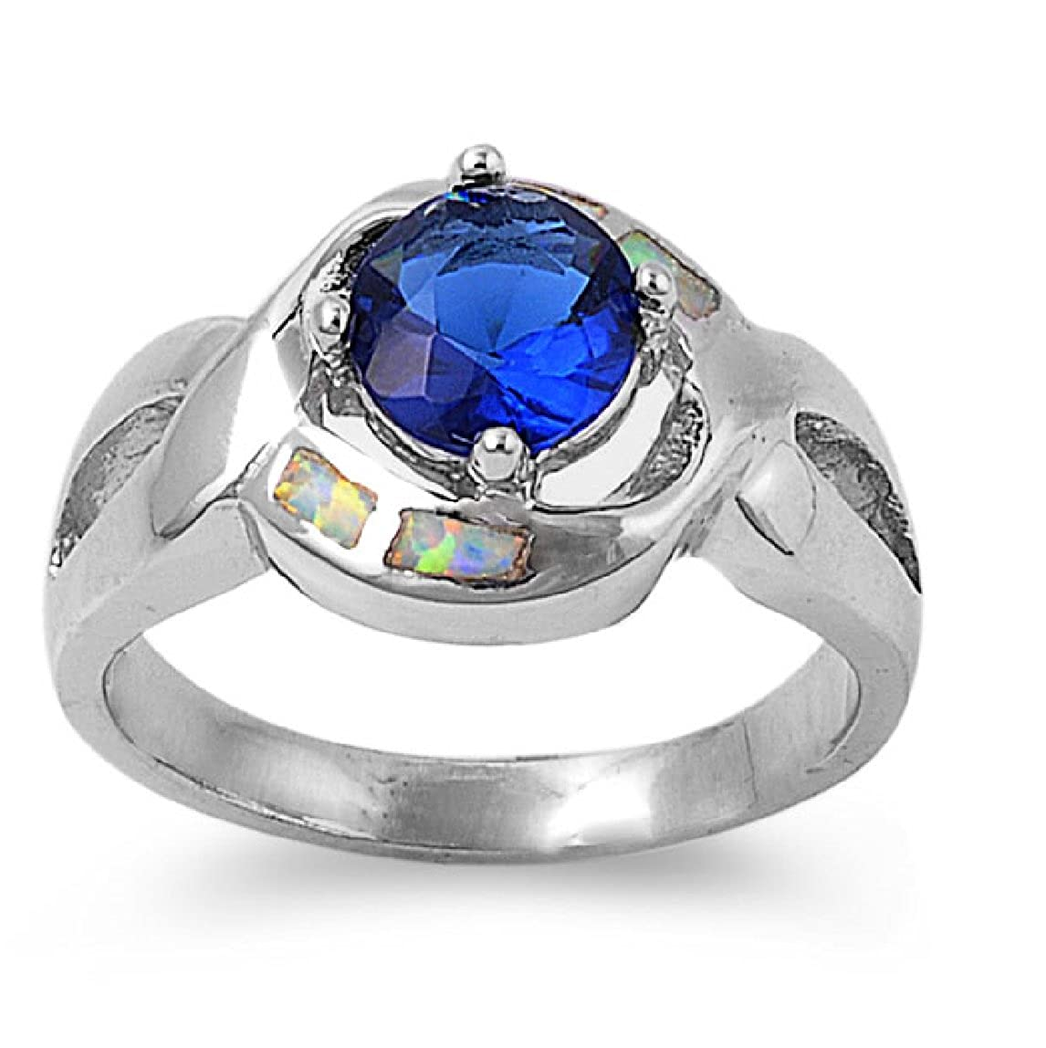 CloseoutWarehouse Round Center Simulated Sapphire Cubic Zirconia Simulated Opal Ring 925 Sterling Silver