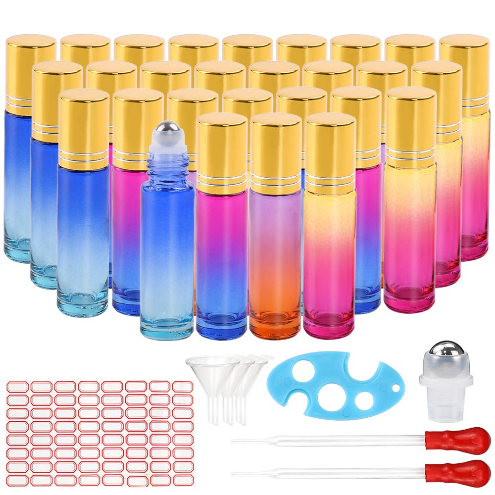 36pcs Glass Roller Bottle for Essential Oil 10ml with Glass Pipettes, Plastic Funnels, Opener and Label by Superlele