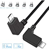 RCGEEK Compatible with DJI Mavic Mini OTG Cable Phone to Controller Data Cable 1ft Right Angle Nylon Braised for DJI Mavic Mini Mavic Pro 2 Mavic 2 Zoom Mavic Pro Platinum Spark, 1 Piece