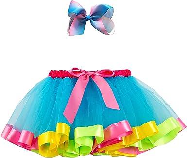 Baotung - Falda de Tul para niña con Lazo Azul 5-8 años/Talla de ...