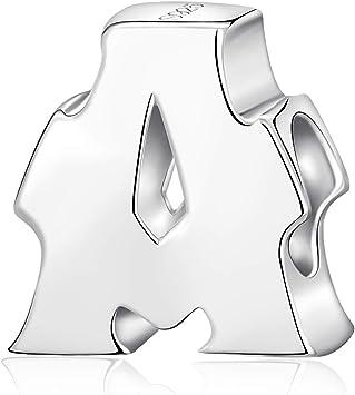Alphabet Charms Letter Initial AZ Genuine 925 Sterling Silver Beads fits  Pandora Charms Bracelet (Letter A)