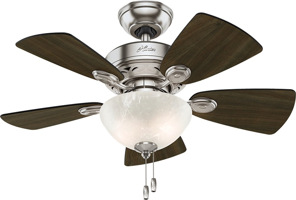 Hunter Indoor Ceiling Fan with light and pull chain control - Watson 34 inch, Brushed Nickel, 52092