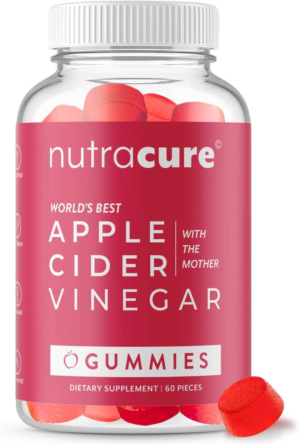 Nutracure Apple Cider Vinegar Gummies for Detox, Cleanse & Weight Management - Organic ACV Gummies with The Mother - 60 Vegan Gummy Vitamins
