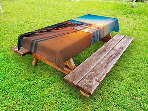 Lunarable Shipwreck Outdoor Tablecloth, Australian Horizon Sunset View at Beach with Ruined Boat Queensland Morning Print, Decorative Washable Picnic Table Cloth, 58 X 104 Inches, Blue Tan (Outdoor Queensland Furniture)