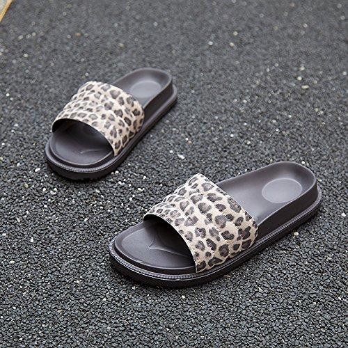 fankou Sra. Zapatillas de Leopardo Sexy de Verano al Aire Libre Femenino Desgaste Antideslizante Zapatillas de casa,37, Gris