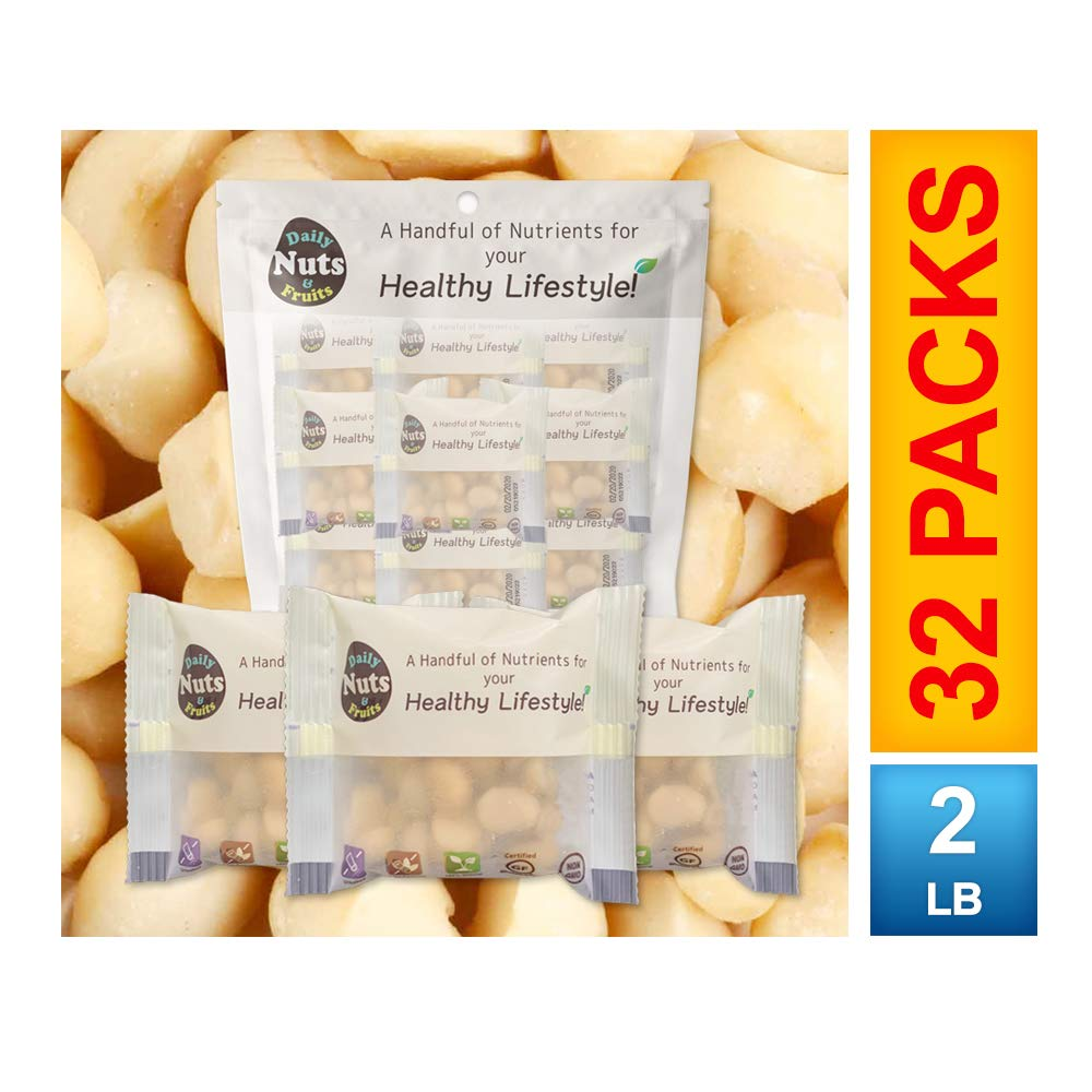 ''Just Macadamias'' (Raw), 2 LB, 32 Packs (1oz), No Additives, Unsalted, On-the-Go, Natural, Premium Nuts, Gourmet Food, Multi-Pack, Nut Packs, Macadamia (KOSHER CERTIFIED)