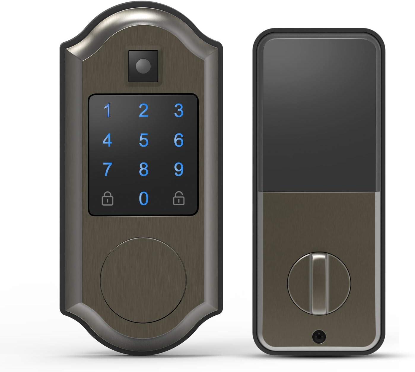 ChicAid Smart Door Lock, Keyless Entry Door Lock with Touchscreen Keypad, Digital Electronic Front Door Lock Deadbolt, Work with APP, Brushed Grey