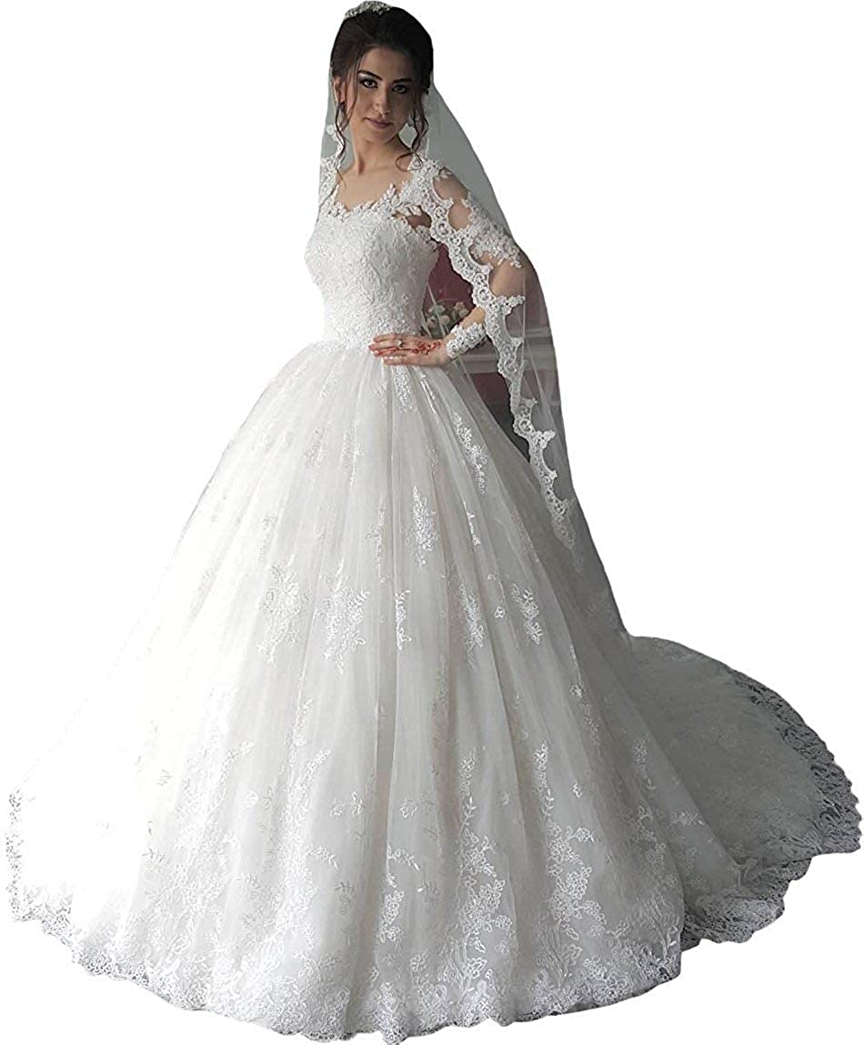Fanciest Women's Vintage Lace Wedding Dresses Long Sleeve Dress Ball Bridal Gowns White At Amazon Clothing Store: Bridal Lace Wedding Dress At Reisefeber.org
