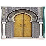 iPrint Super Soft Throw Blanket Custom Design Cozy Fleece Blanket,Arabian,Golden Door of Royal Palace in Fes Morocco Vintage Moroccan Artwork Mosaic Style,Multicolor,Perfect for Couch Sofa or Bed