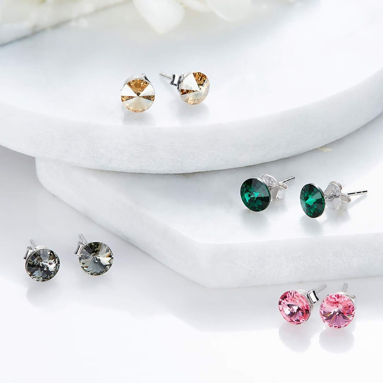 Epinki 925 Sterling Silver Earrings Elegant Stud Earrings Earrings Rose Red with Rose Red Cubic Zirconia