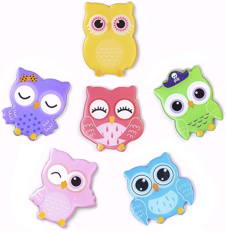 Cute Cartoon Owl Fridge Magnets - 6 Pcs Refrigerator Magnets Set Office Magnets Calendar Magnets Whiteboard Magnets Christmas Magnets Decorative Magnets Perfect Gift
