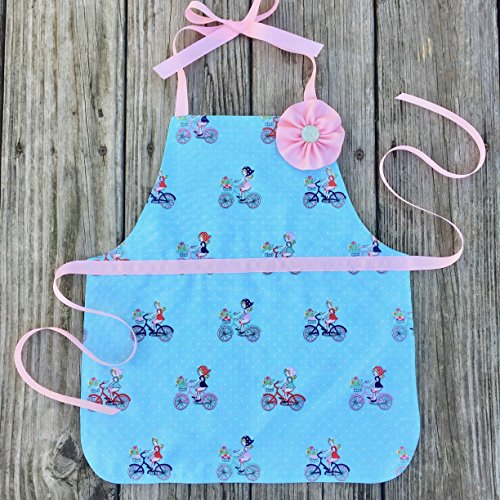 Reversible Pink and Blue Kitchen Play Art Gift Apron for Preschool Girl from Sara Sews
