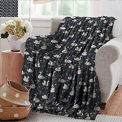 PearlRolan Flannel Throw Blanket,Swan,Pond Lilies and Cattails Growth with White Waterfowls on The Dark Blue Lake Artwork,Multicolor,for Bed & Couch Sofa Easy Care 50