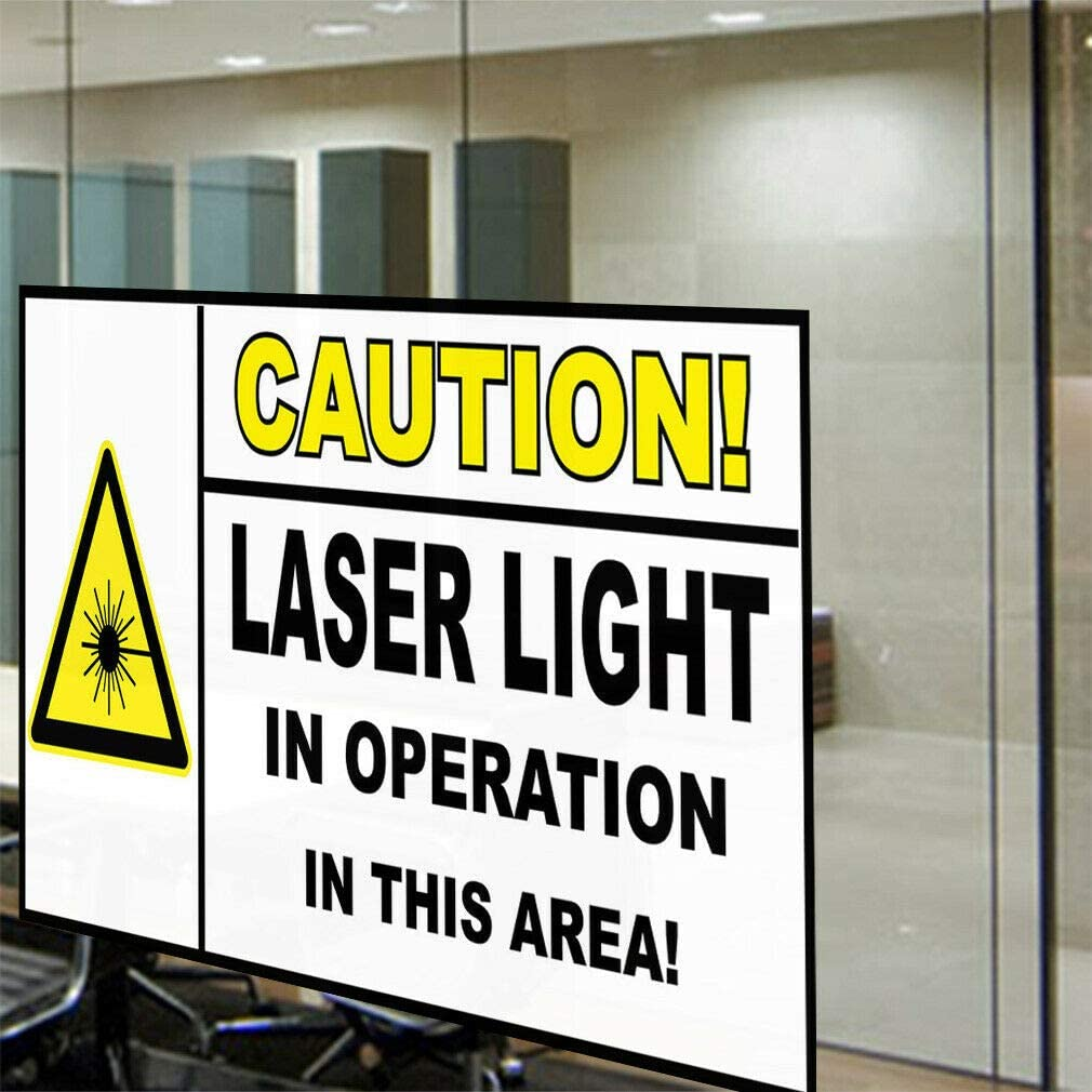 Decal Sticker Caution Laser Light White Black Lifestyle Caution Sign Store Sign-40inx26in