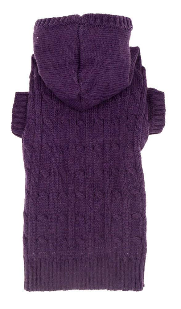 Purple Dog Classic Cable Pet Sweater Coat Clothes Hoodie for Dogs, XXX-Large (XXXL) Size 26'' Back Length
