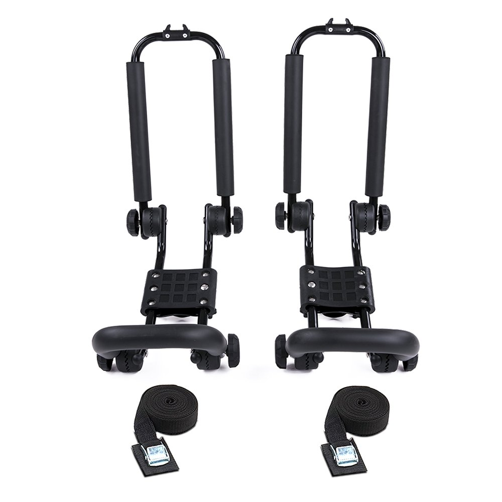 AA Products 2 Pair Steel Double Folding J-Bar Rack for Kayak Carrier Canoe Boat Paddle Board Surfboard Roof Top Mount on Car SUV Truck Crossbar AA-Racks