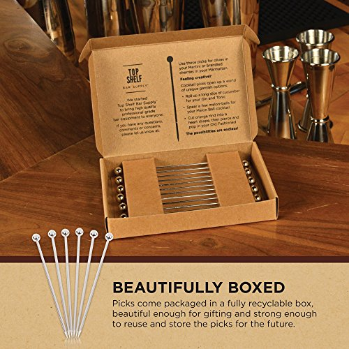 Stainless Steel Cocktail Picks - 4'' (12pc Set) by Top Shelf Bar Supply (Image #7)