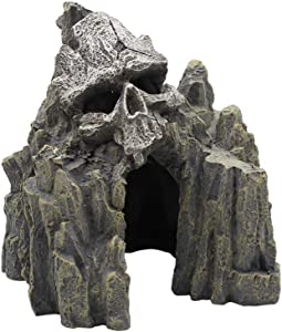 EHC Skull Mountain Aquarium Ornament Fish Tank Decorations Small Terrain Scenery Decorations for Reptile Wargaming