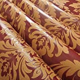 European Vintage Luxury Damask Wall paper PVC Embossed Textured Wallpaper Rolls Home Decoration Gold Silver White ,red and gold,5.3m²