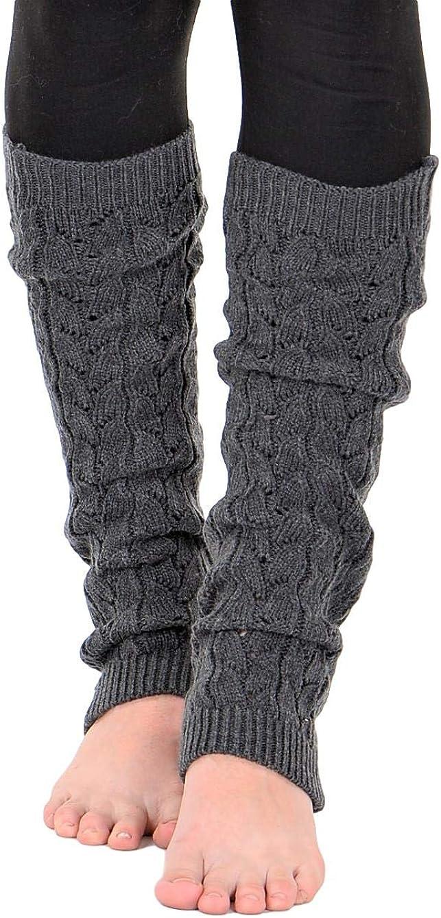 KESIS Women/'s Cable Knit Leg Warmers Knitted Crochet Long Socks
