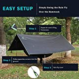 pys Hammock Rain Fly - Waterproof Tent Trap Camping Backpacking Survival Shelter by Premium Lightweight Ripstop Fabric, Fast Set Up, Stakes and Ropes Included for Hiking, Travel